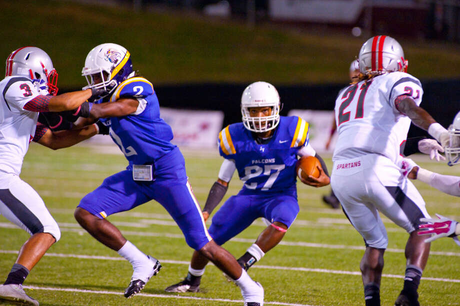 Lavance Moore finds room to run in Jersey Village's 47-3 win over Cy Lakes on Thursday at Pridgeon Stadium. He had 120 yards rushing and two touchdowns.