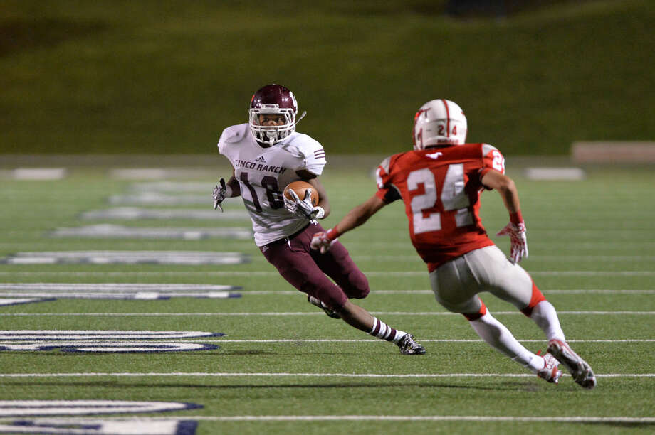 Greg Williams Jr. and Cinco Ranch rolled to 4-0 with a 35-7 victory against Mayde Creek. The Cougars play Morton Ranch, Oct. 2 at Rhodes Stadium. To view or purchase this photo and others like it, visit HCNpics.com. Photo: Craig Moseley