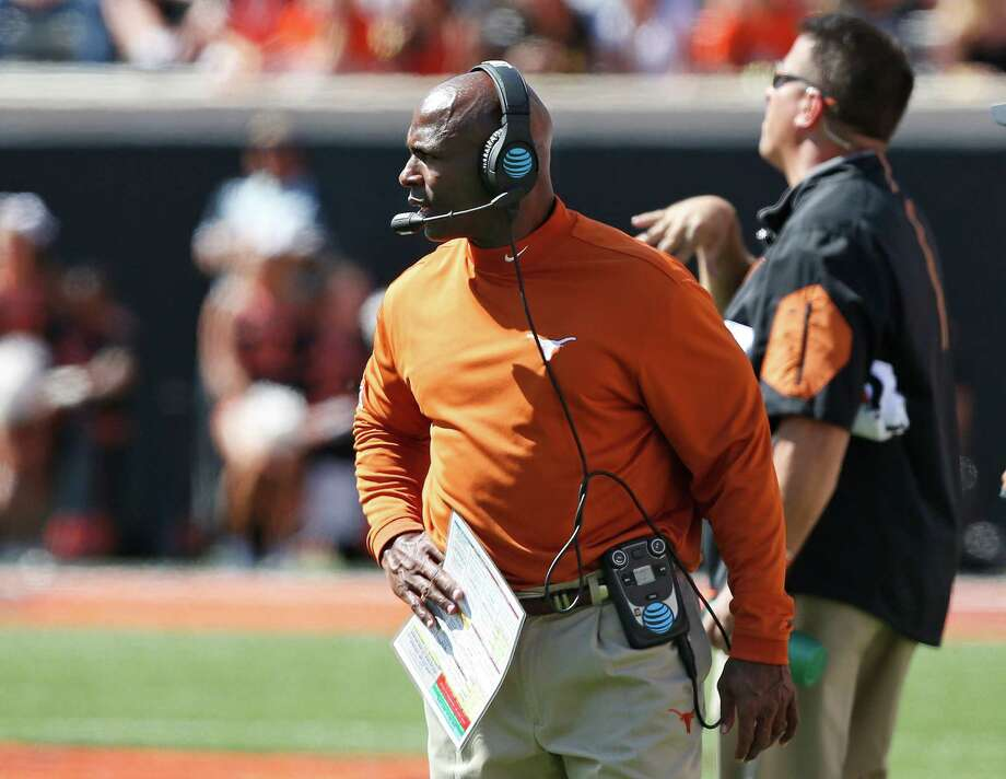 Texas head coach Charlie Strong will take over the defensive play-calling this week against Oklahoma after the unit's ghastly showings against Oklahoma State and Cal. Photo: Sue Ogrocki, STF / AP2016