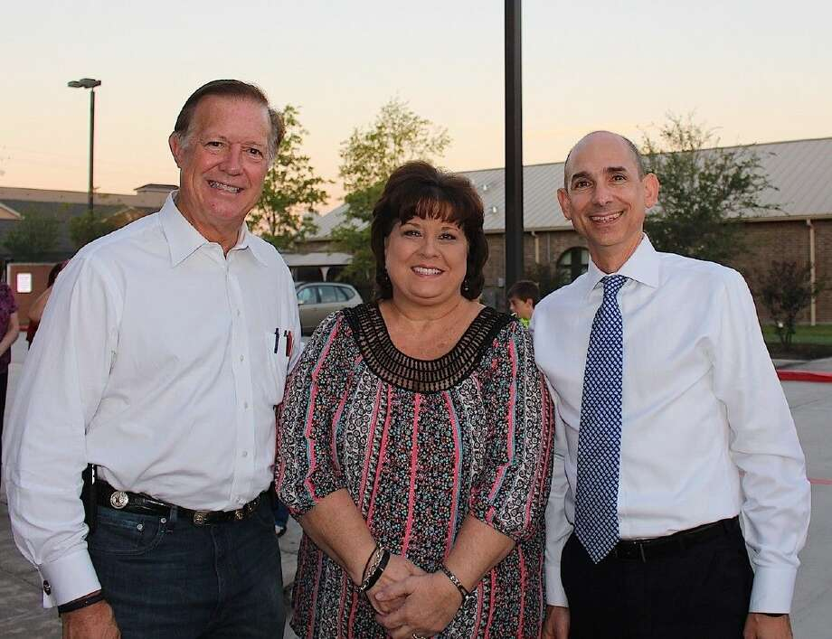 Congressman Randy Weber, Lucy Woltz with the Friendswood Chamber of Commerce and State Rep. Greg Bonnen.
