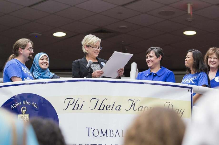 City of Tomball and Lone Star College-Tomball dignitaries and employees gathered on Sept. 16, in the LSC-Tomball Student Center to hear Tomball mayor Gretchen Fagan read a proclamation announcing the day Phi Theta Kappa Day. Photo: Submitted