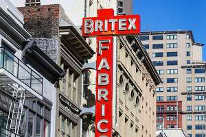A sign for Britex Fabrics is seen above the shop on Geary Street, in San Francisco, California, on Wednesday, Oct. 5, 2016.