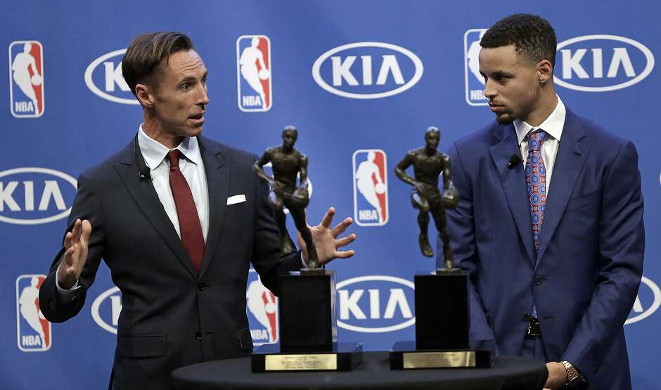 Steve Nash Left Gestures Beside Golden State Warriors Guard Stephen Curry During The NBAs Most Valuable Player Award Presentation Tuesday May 10 2016