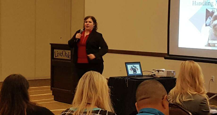 "Stephanie Scheller makes a point during her ""Customer Service Secrets"" presentation during the Sept. 30 Business Palooza event at the Garden Inn Hilton in Live Oak. Photo: Jeff B. Flinn /Northeast Herald"