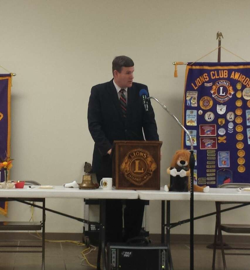 Tri-County Services Executive Director Evan Roberson spoke to the members of the Cleveland Lions Club on Oct. 14. Photo: Stephanie Buckner