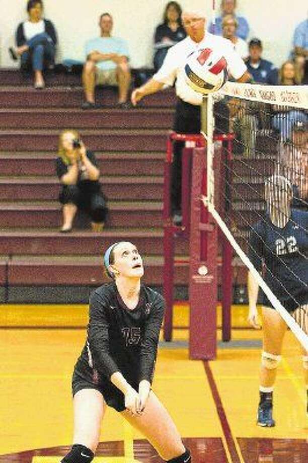 Magnolia's Remington Wells makes a play during a match earlier this season for the Lady Bulldogs.