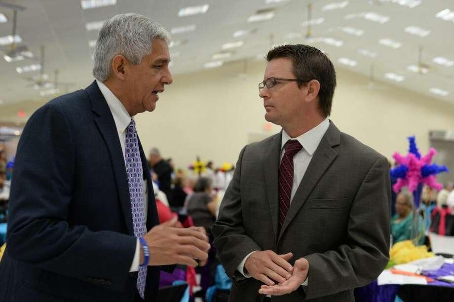 Houston councilman Robert Gallegos and Commissioner Jack Morman at Thursday's Hispanic Heritage Breakfast.