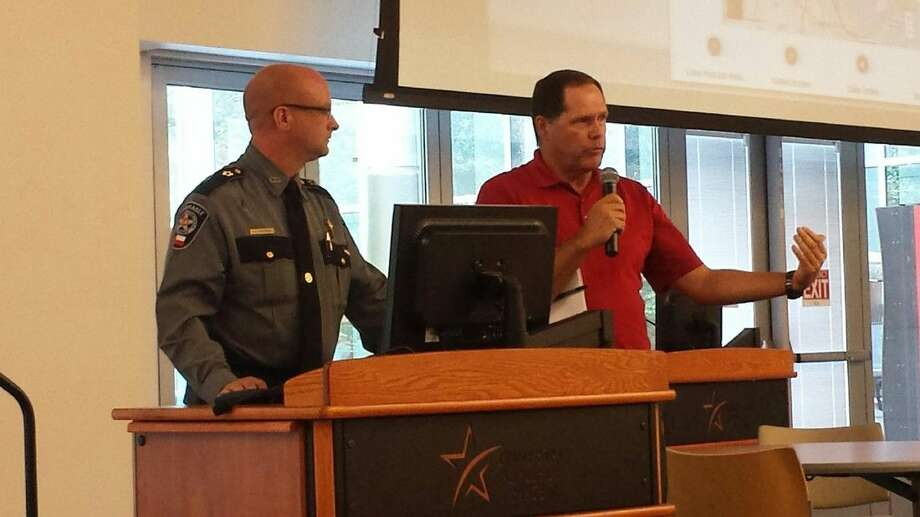 Montgomery County Precinct 4 Constable Rowdy Hayden with Greater East Montgomery County Chamber of Commerce president Rick Hatcher explain growth and safety in Montgomery County during The Loop Sept. 30, 2015.