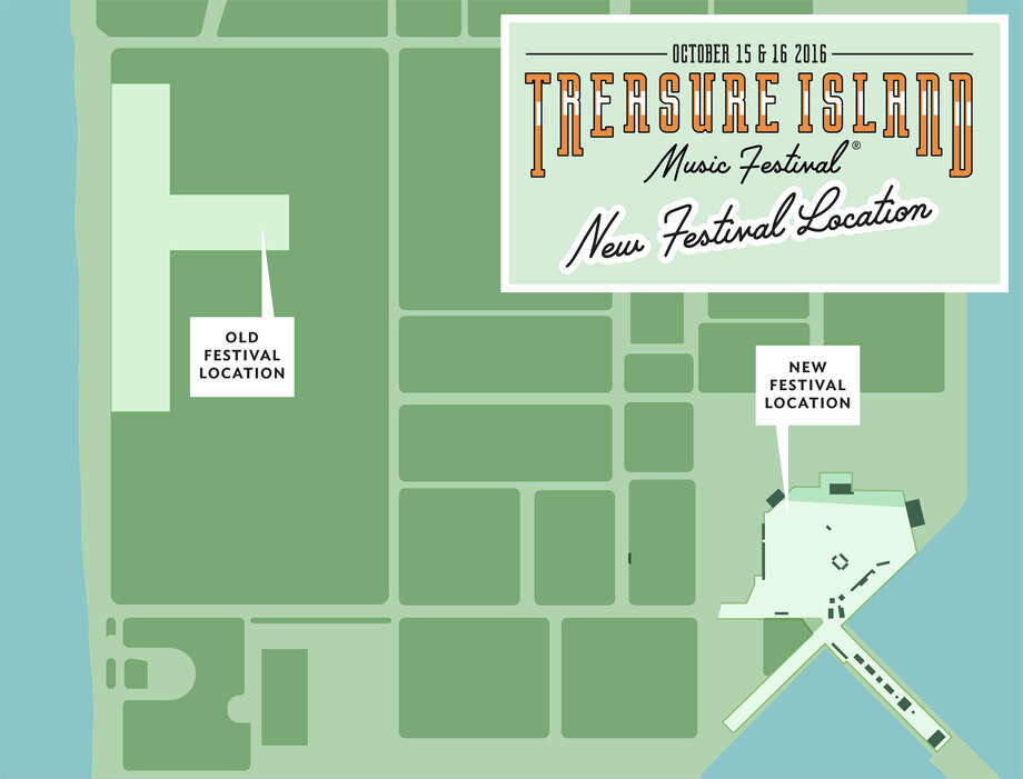 Treasure Island Music Festival is moving from the 400,000-square-foot Great Lawn to the space by the pier facing the Bay Bridge. The new area is nearly 20 percent larger at 490,000 square feet. Photo: Courtesy Treasure Island Music Festival