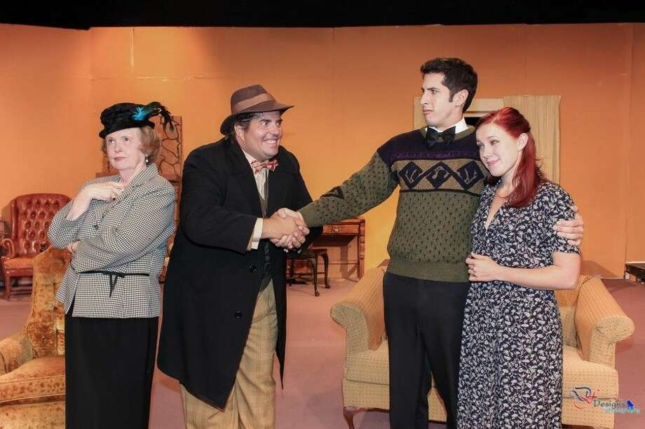 "Part of the cast members in PLT's ""Mousetrap"", by Agatha Christie are: (l-r) sharp-tongued complainer, Mrs. Boyle (Anne Boyd); cute and kooky Christopher Wren (Tony Hall) and the overwhelmed young couple, Giles and Mollie Ralston (Jonathan Lacayo and Jennifer Richardson), proprietors of Monkwell Manor. This classic will run weekends at Pasadena Little Theater through Nov. 2. Call 713-941-1758 for information and reservations."