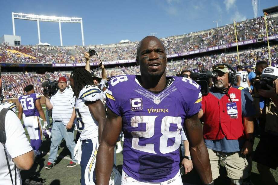 Minnesota Vikings running back Adrian Peterson walks off the field after defeating San Diego this past weekend.