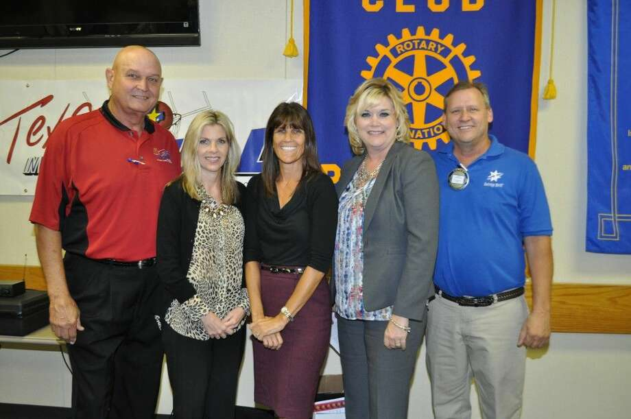Pasadena Rotarian's Program Chairman Gary Nickelson (R) is joined by ( from left) Rotarian Wayne Adams, Cindy Parmer, PISD's Director of Community Relations, Jill LaCamu, Principal of Moore Elementary and Dee Ann Powell, Deputy Superintendent of PISD. This knowledgeable group was on hand to promote the 12th Annual Texas Invitational Basketball Tournament, which begins Nov. 20.