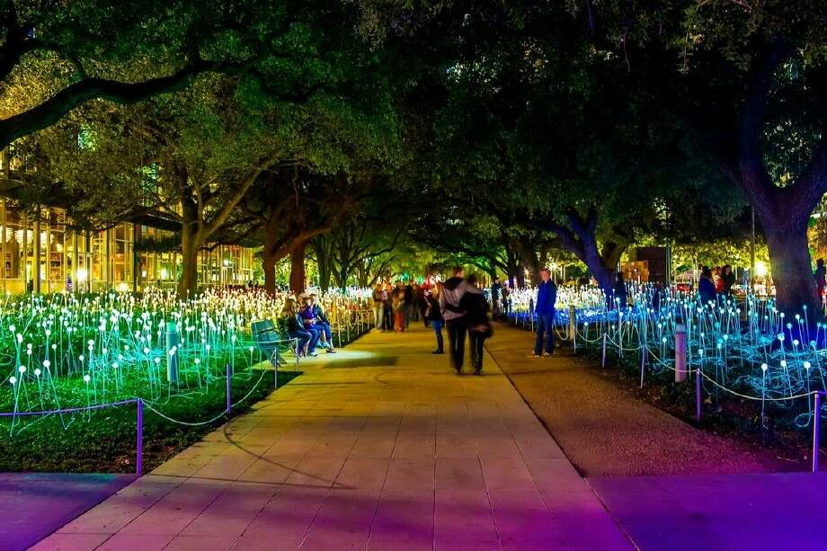 Discovery Green, Houston's preeminent urban park, will again illuminate downtown this winter with a beautiful art installation by internationally-recognized artist Bruce Munro. Field of Light will be showcased along the park's Brown Promenade from beginning Nov. 24. The vivid, site-specific, temporary installation will amaze and delight park-goers of all ages. Photo: Courtesy Photo