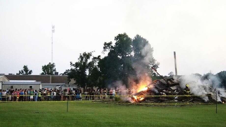 The LHS homecoming bonfire was lit around 7:15 p.m. Wednesday evening, Sept. 30, behind the practice field at Liberty High School. Photo: Casey Stinnett