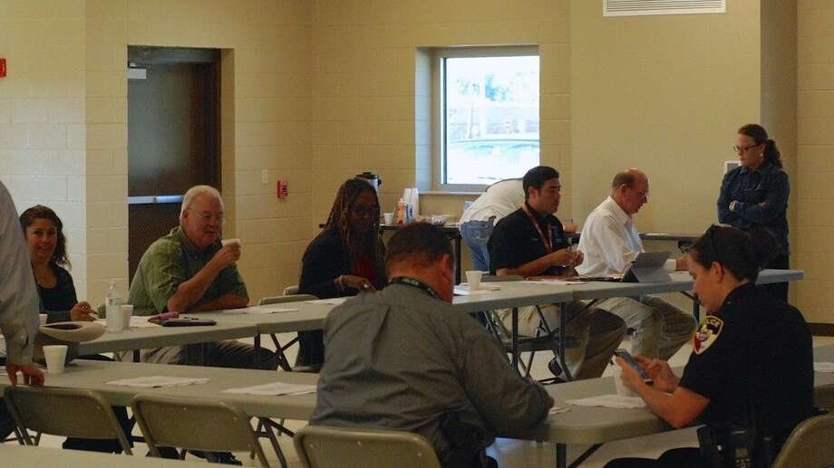 Representatives from several local agencies got together at the Jack Hartel Building in Liberty, Texas Wednesday morning, Oct. 22, to talk about the community plans their agencies will develop for submission to the Criminal Justice Dept. of the Texas Governor's Office. Photo: Casey Stinnett
