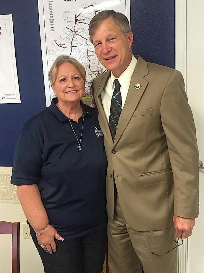 Nancy Neel and Congressman Brian Babin (R-Cleveland).