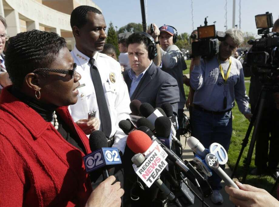 Gary, Indiana, Mayor Karen Freeman-Wilson speaks at a news conference Monday in Hammond, Ind. Police investigating the slayings of seven women whose bodies were found over the weekend in northwestern Indiana say the suspect has told them that he may have killed people going back 20 years.