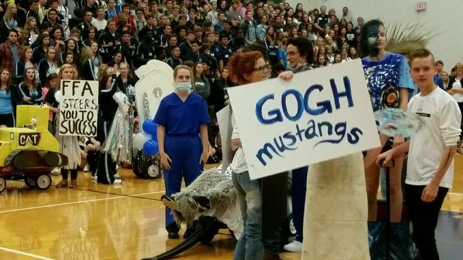 Kingwood High School students present their wagons during Friday's pep rally at Kingwood High School. Kingwood will play its homecoming game Friday night against Summer Creek High School.