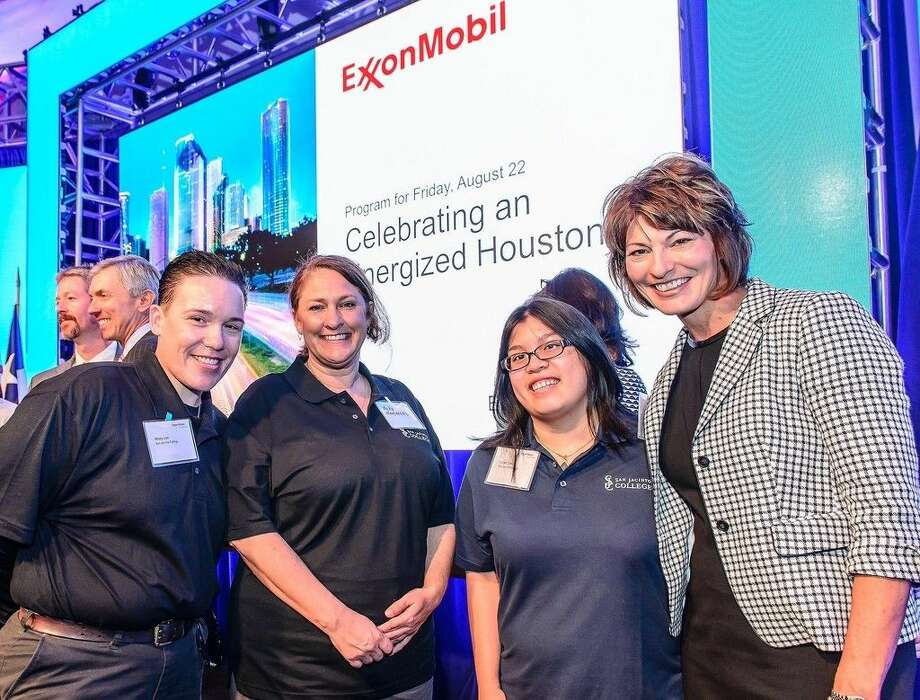 (Left to right) Misty Lee, Rebekah Hammond, and Lilian Tran, San Jacinto College students and recipients of ExxonMobil scholarships; and Dr. Brenda Hellyer, San Jacinto College chancellor.