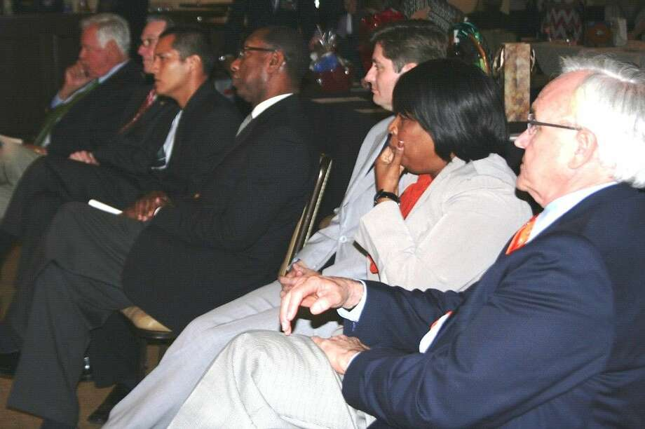 Houston mayoral candidates wait for their time to speak at the Houston Mayoral Candidate Forum on Wednesday, Sept. 30.