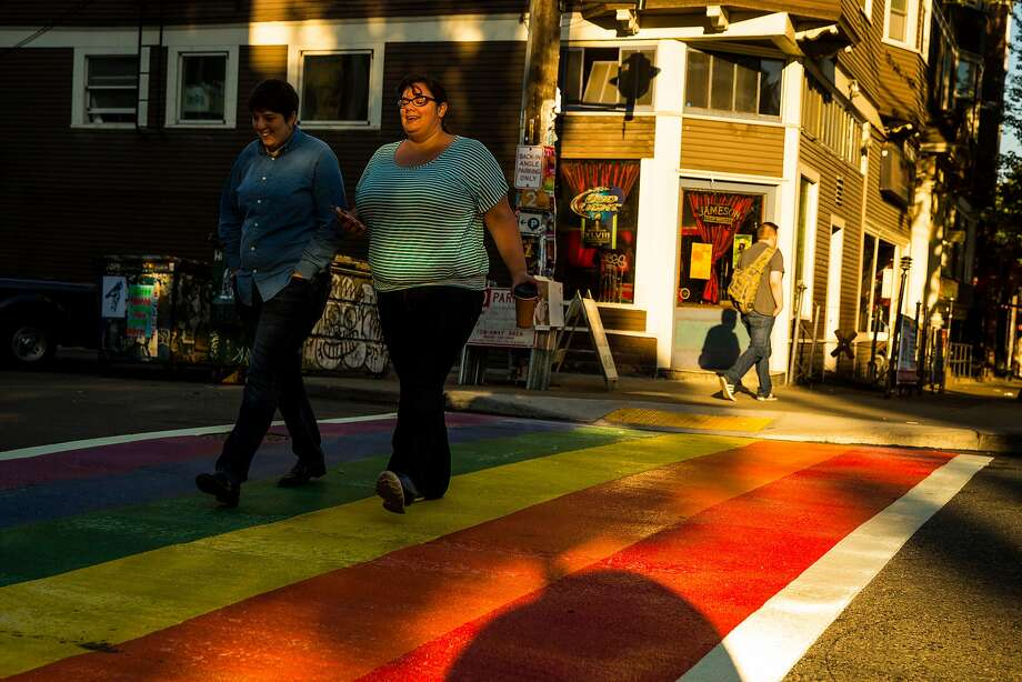 Capitol Hill in Seattle features rainbow-colored crosswalks. Photo: JORDAN STEAD, SEATTLEPI.COM