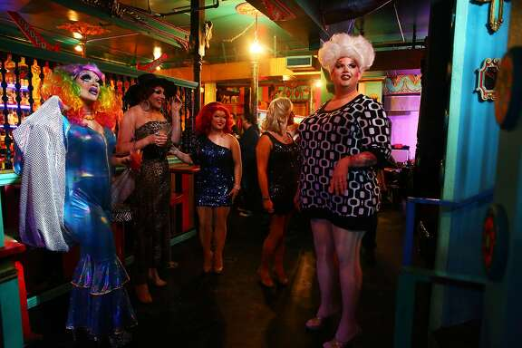 The cast of Mimosas with Mama wait for guest to show up before show on Sunday, Feb. 28, 2016, at The Unicorn in Capitol Hill.  Mimosas with Mama is a brunch-time variety show featuring skits, comedy, lip-synching and a mini-musical every Sunday at 1:00 p.m.  The cast will be performing in Puerto Vallarta for the month of March but will return to Seattle April 3rd . (Genna Martin, seattlepi.com)