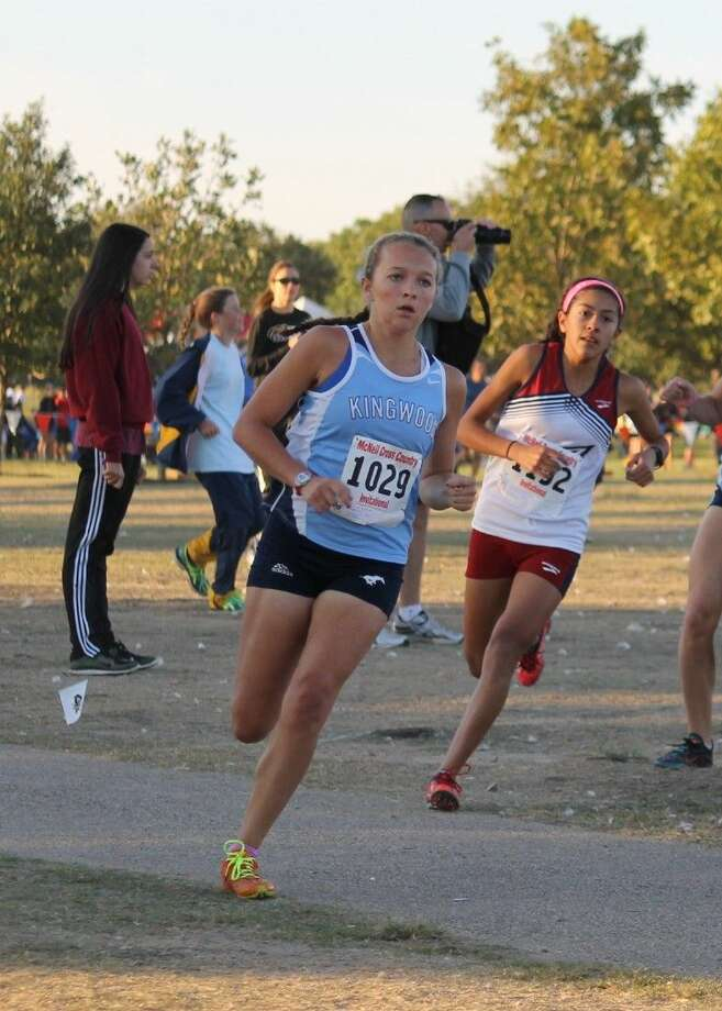 Mustang Erin Gallagher competes at the McNeil Invitational on Saturday. The Mustangs took second in the 42 team field.