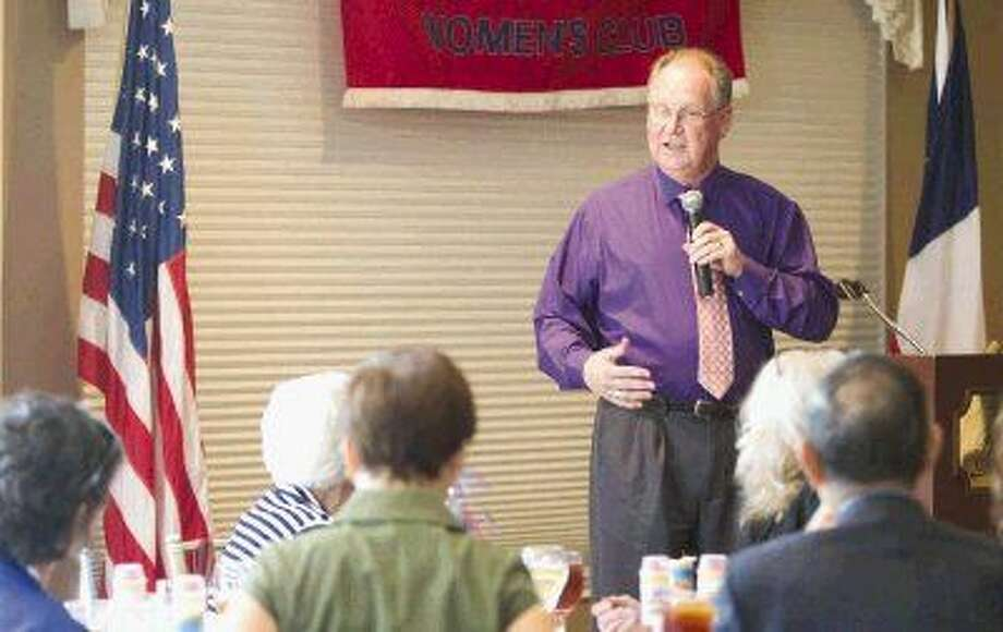 Frank Kelly, director of the Fisher House at the Michael E. DeBakey VA Medical Center in Houston, speaks about the organization's services for veterans at the Montgomery County Republican Women's luncheon Thursday. Photo: Jason Fochtman
