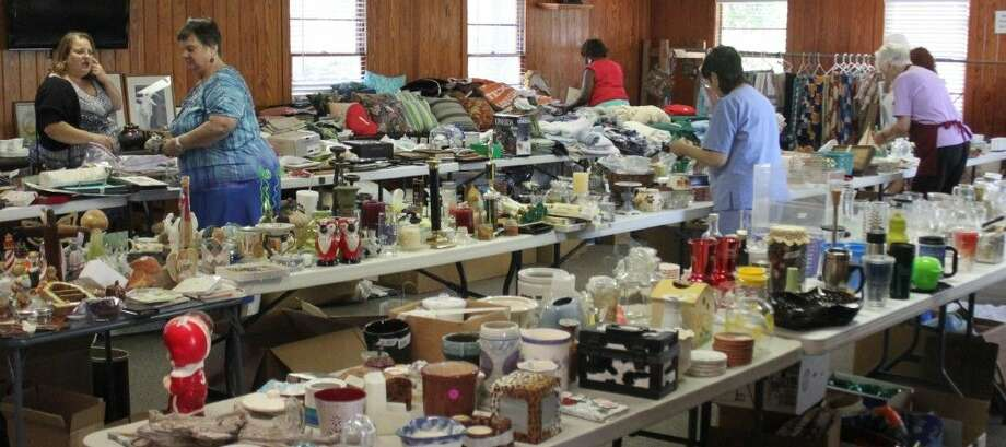 The garage sale continues inside the Coldspring Community Center. Photo: Jacob McAdams