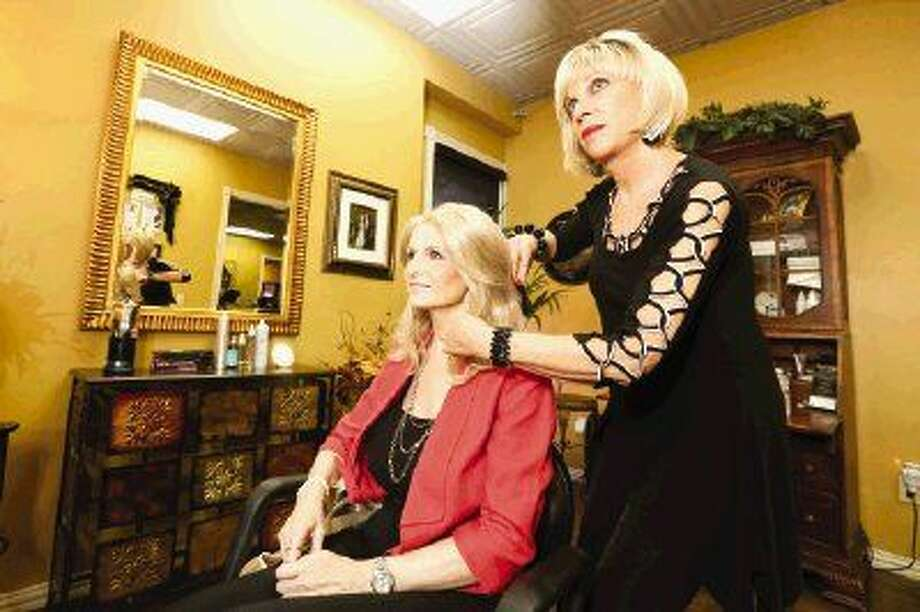 Suzanne Boase, currently battling breast cancer, has her wig styled by Gayle Stan-Bucher, founder of Gayla Wigs.