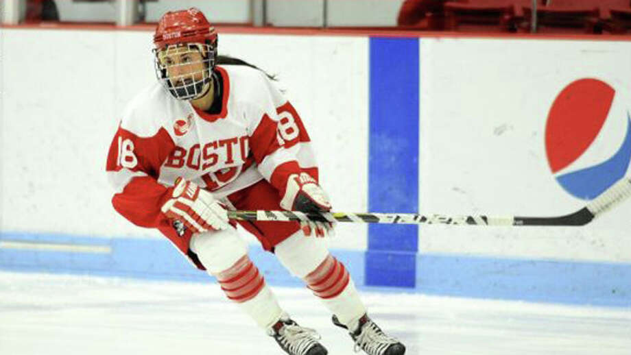 Westport's Rebecca Russo starred for four years at Boston University. She signed a one-year contract with the New York Riveters in June. Photo: Photo / Westport News