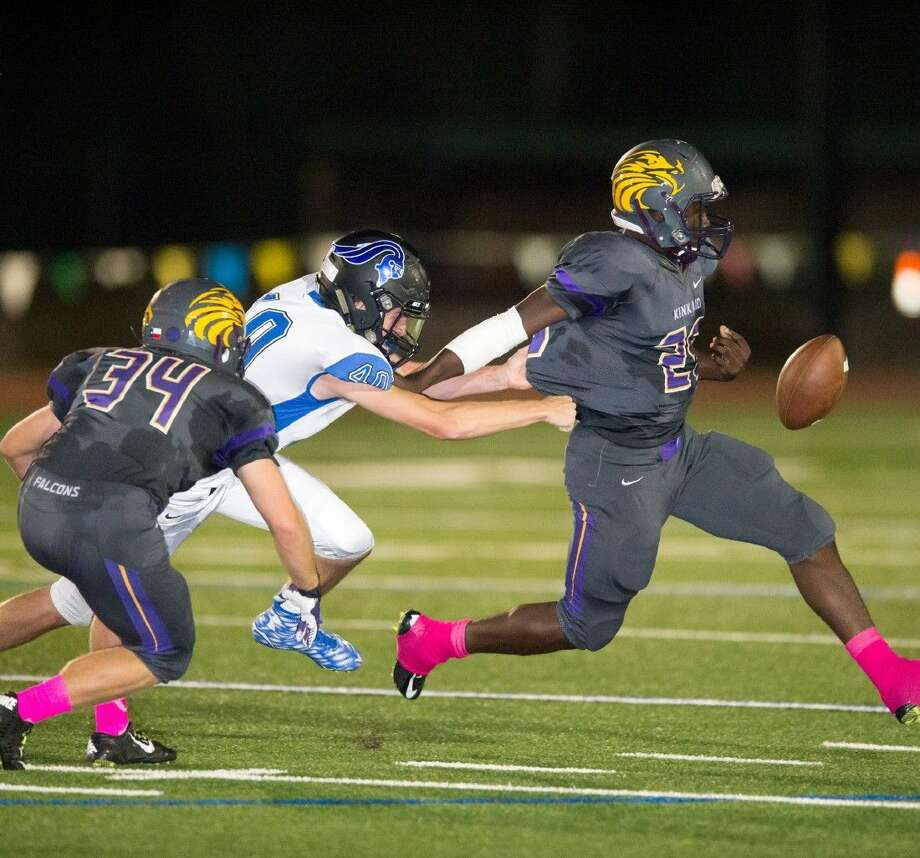 A Kinkaid receiver can't quite catch up to the ball while an Episcopal defender is right on his heels during the Knights' 42-21 win over the Falcons Friday night at Segal Field in an SPC South Zone game. The Knights will play the Episcopal School of Dallas Friday night in a game between the two unbeaten teams in the SPC while Kinkaid, which is now 1-1 in the conference, will go to Houston Christian looking to keep pace with the teams at the top. Photo: Kevin B Long