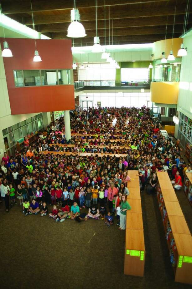 Alvin ISD's newest elementary, Dr. James Red Duke Elementary, located in Manvel, is already above capacity, after only being opened for a year. The entire student body is pictured, to give a glimpse into how large the enrollment is.