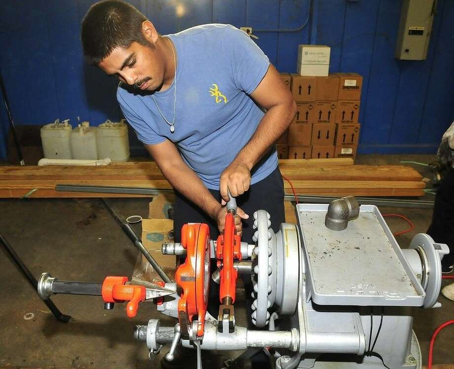 Edgar Rodriguez is a pipefitter training at San Jacinto College during the evenings in hopes of advancing his pay and moving up in his career. Photo credit: Jeannie Peng-Armao, San Jacinto College marketing, public relations, and government affairs department.