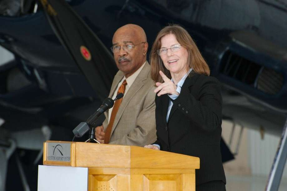 Former US Secretary of Education and Co-Chair of the Lone Star Flight Museum Education Committee Dr. Rod Paige stands with Retired NASA Astronaut and Co-Chair of the Lone Star Flight Museum Education Committee Dr. Bonnie Dunbar as they comment on the relocation of the Lone Star Flight Museum to Ellington Airport Monday, Oct. 27. Photo: Kirk Sides