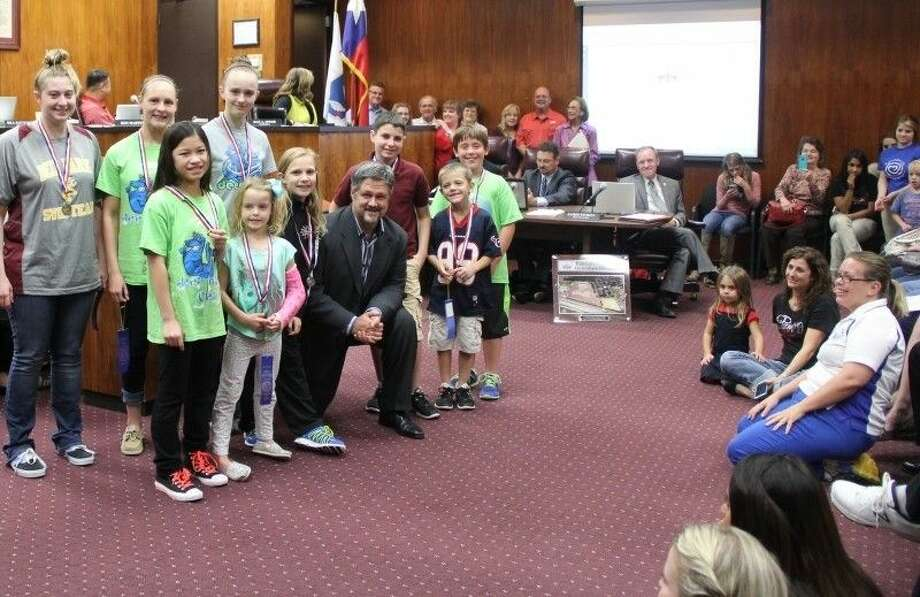 The Deer Park Seals Swim Team was honored by Mayor Jerry Mounton Jr. and the City Council at a meeting held Tuesday (Oct. 21). Photo: Kristi Nix