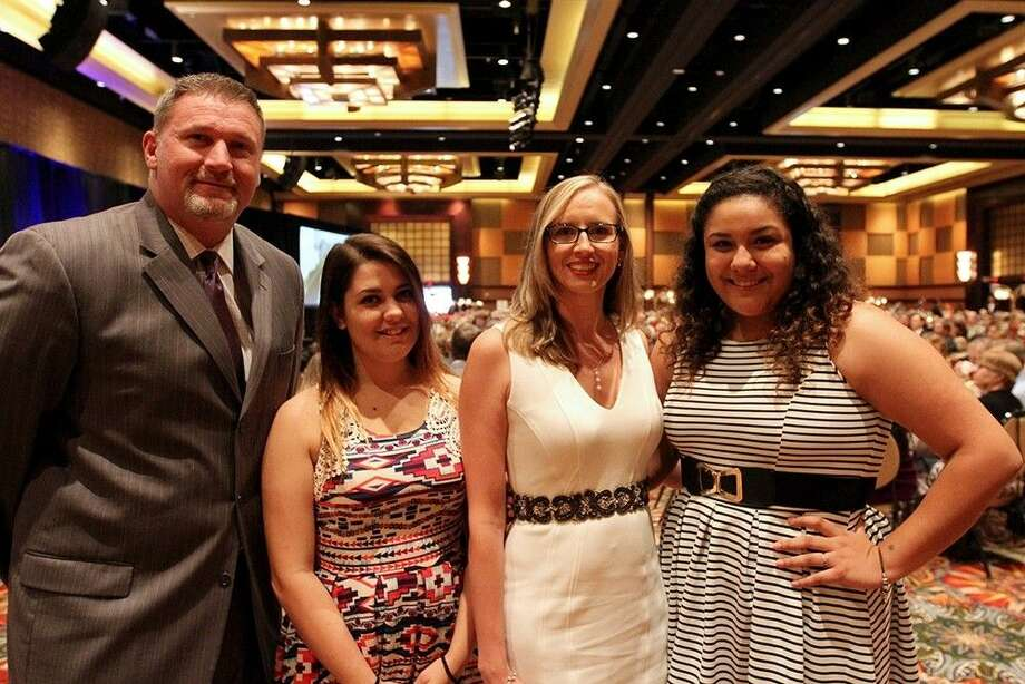 Dobie principal Franklin Moses Ashley Zirpoli, Dobie student; Cindy Wilems and Cathy Niera, Dobie student. Photo: Reesha Brown