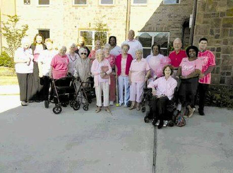 """Watercrest at Kingwood residents celebrating """"Pink Shirt Day"""" in honor of Breast Cancer Awareness month."""