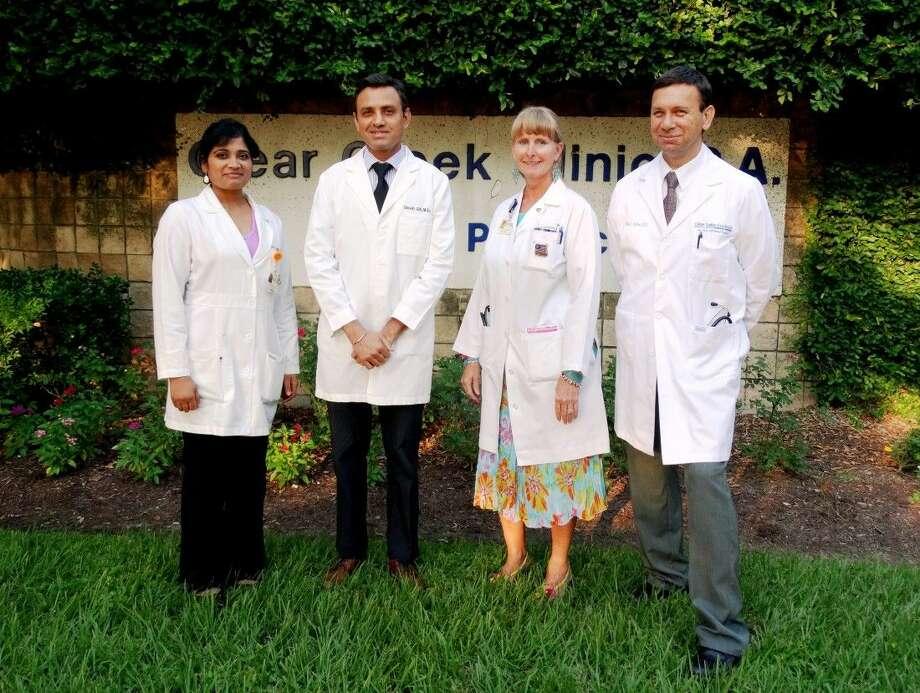 Clear Creek Clinic family physicians (L-R) Chaitanya Alli, M.D.; Shivjit Gill, M.D; Janice Teer, M.D. Brian Aquino, M.D. have joined the medical team at Houston Methodist St. John Hospital.