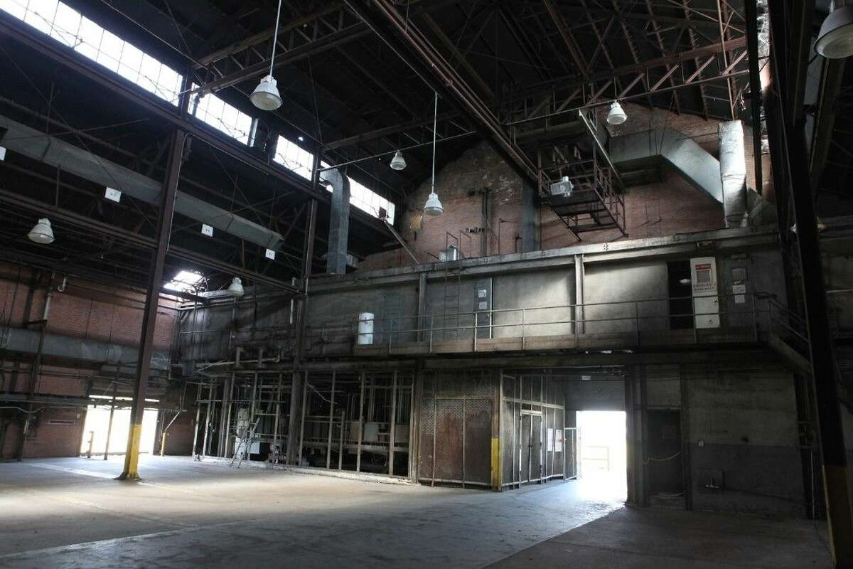 """Inside the """"three bay"""" warehouse on the Imperial Sugar refinery site."""