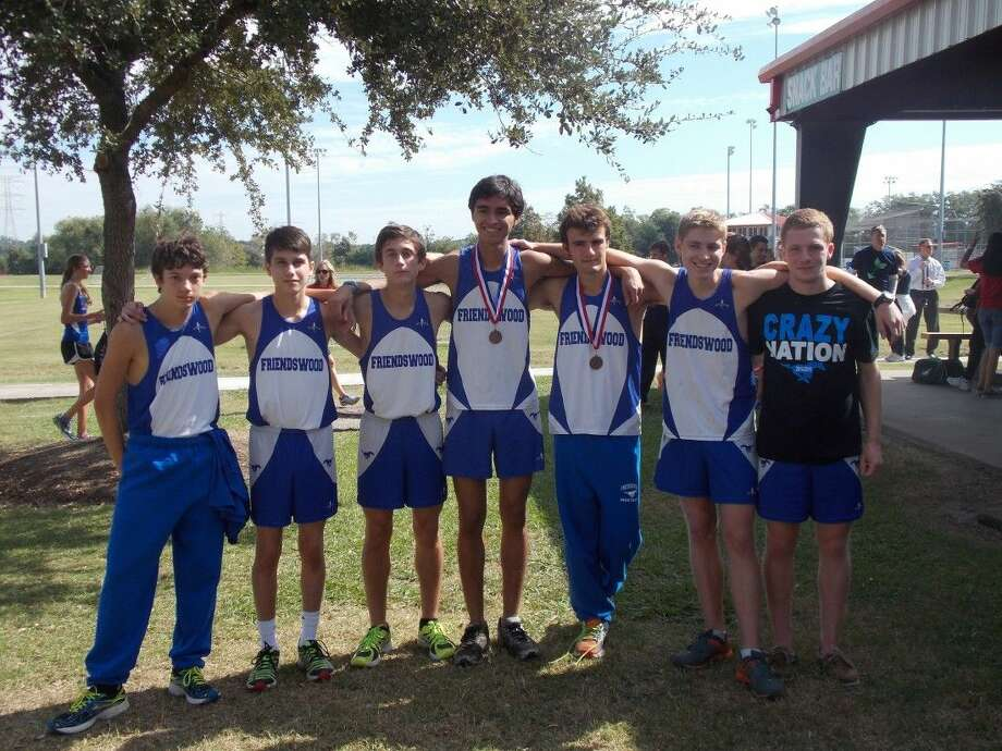 The Friendswood boys' varsity cross country took second place at the District 24-6A meet last Thursday in League City. Clear Lake won the meet with 58 points and Friendswood had 73. Friendswood team members are (left to right) Brandon Lantau, Tyler Melebeck, Garret McGregor, Ryan Oliver, Joseph Campbell, Tiger Bush and Brent Perry. Photo: SUBMITTED PHOTO