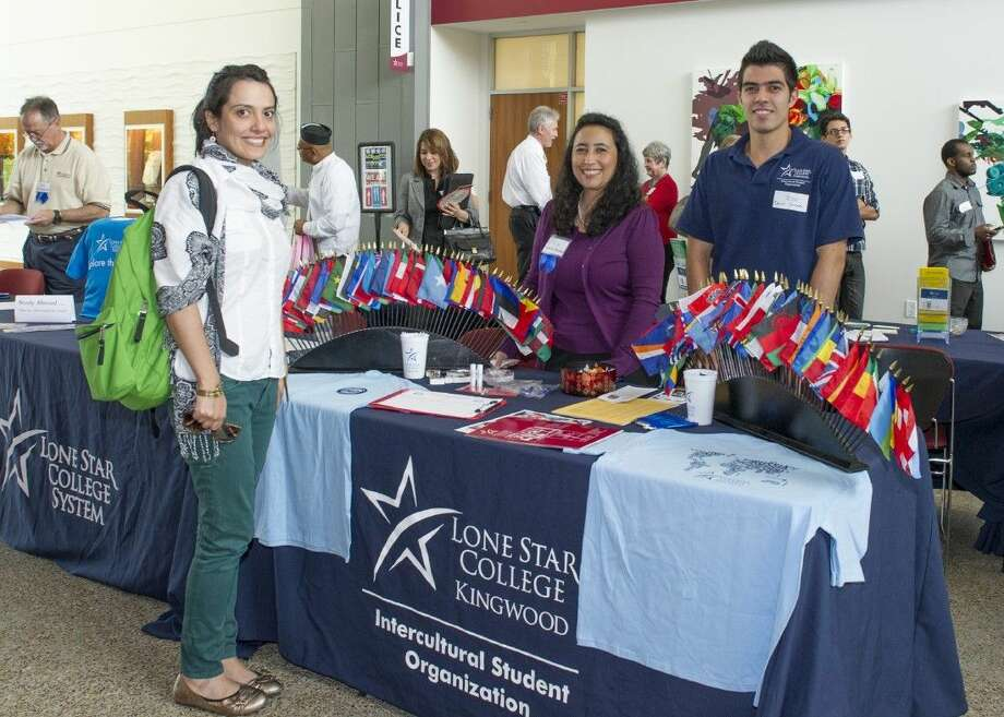: LSC-Kingwood international student, Oriana Fajardo, visits with Angela Maria Santos Reyna and Daniel Camacho during the 2013 International Education Week Expo event. This year, the LSC-Kingwood International Education Week activities will be held Nov. 17-20.