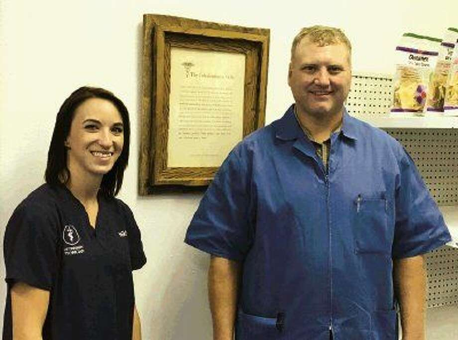 Office manager Nikki Hughes and Dr. Zach Stevenson of the Big Thicket Veterinary Clinic in New Caney will be there to greet the public when the clinic, located at 18403 FM 1485 West in New Caney, holds its open house on Oct. 30.