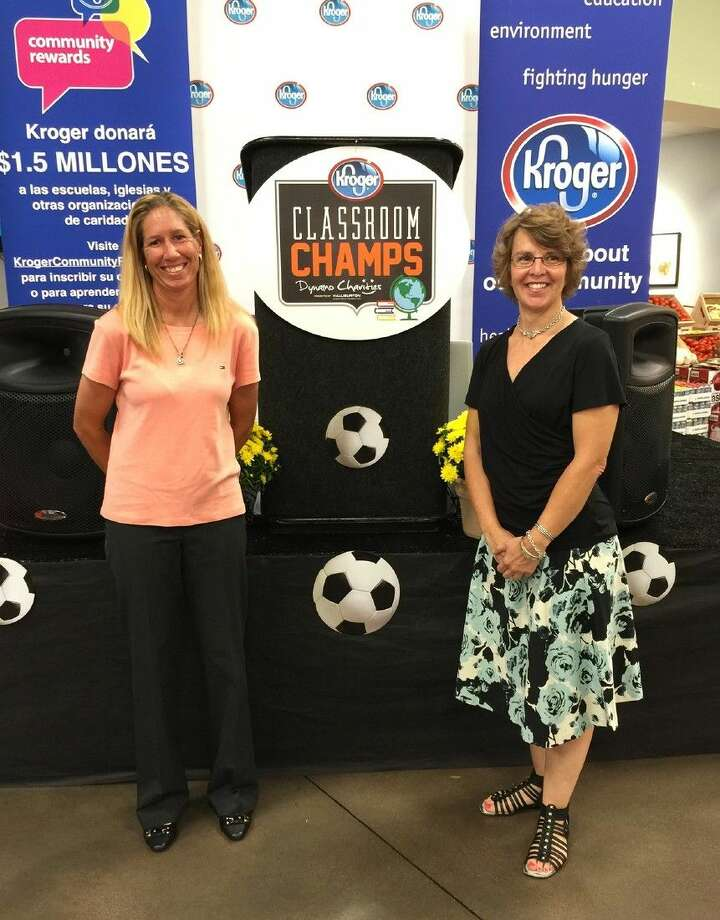 Farney Elementary School PE teacher Rena Richardson, left, and Cypress Creek High School READ 180 teacher Andrea Barnes were honored as Classroom Champs by the Houston Dynamo and Kroger during a reception on Oct. 7.