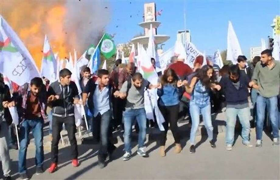 Two explosions on Saturday targeted a peace rally by opposition supporters and Kurdish activists in Ankara, killing 86 people and wounding 186. The moment of one of the blast was caught on camera. Photo: TEL