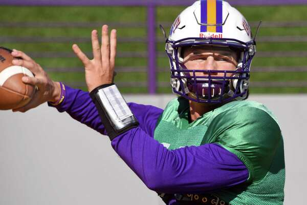 QB Neven Sussman during UAlbany's practice Wednesday Oct. 5, 2016 in Albany, NY.  (John Carl D'Annibale / Times Union)