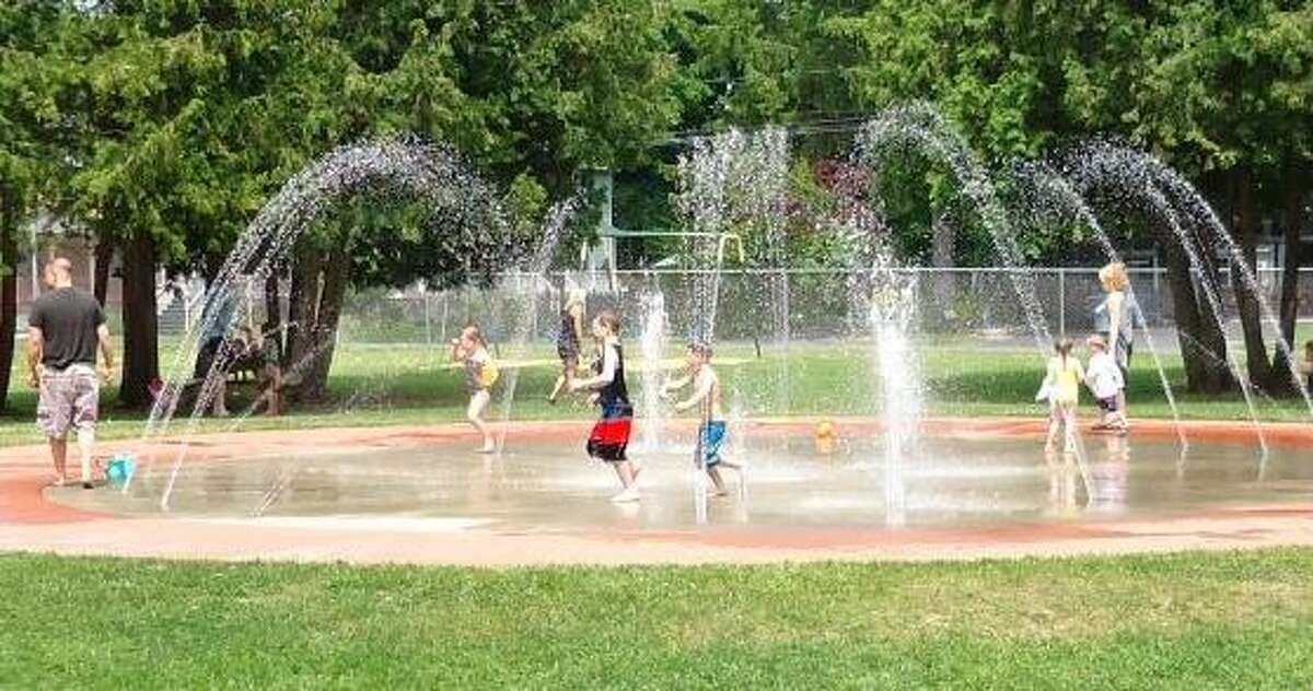 The Scotia-Glenville Lions club is raising money to build a splash pad in Collins Park, much like this one in Saratoga Springs' West Side Recreation Park. (Photo courtesy of Josh Poupore)