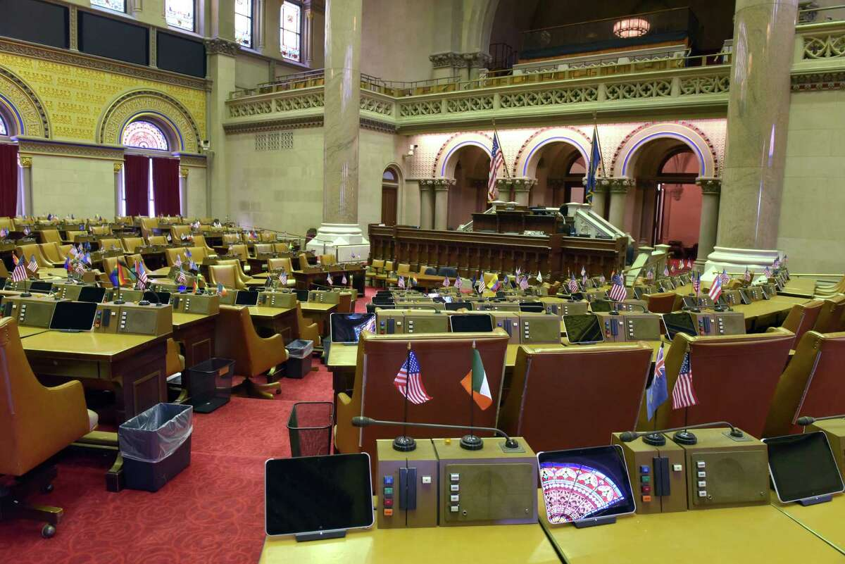 A view of the New York State Assembly chamber inside the Capitol on Tuesday, Oct. 4, 2016, in Albany, N.Y. (Paul Buckowski / Times Union)