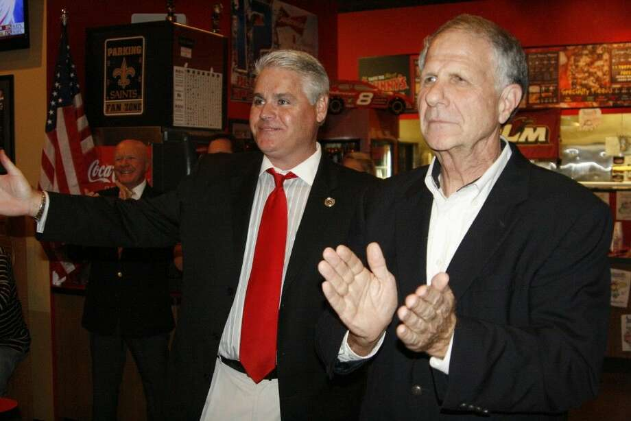 State Representative District 127 Dan Huberty, left, with U.S. Congressman Ted Poe gave their victory speeches at Johnny's Pizza in Atascocita after the results came in for the Nov. 4, 2014 election.
