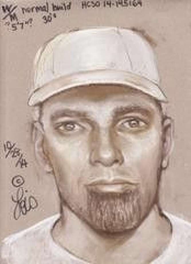 "Composite sketch of the suspect. The suspect is described as a white man in his 30s or 40s, approximately 5'7"" to 5'9"" tall, with light colored blue or green eyes, and tattoos on his arms. He's of normal build, wears a goatee, and has been seen driving a white, four-door pickup truck with a silver tool box in the bed of the truck."